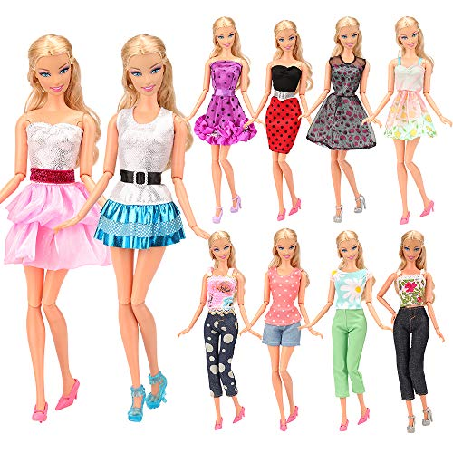 BARWA Lot 10 Sets Fashion Casual Wear Clothes Outfit Compatible with 11.5 Inch Girl Doll