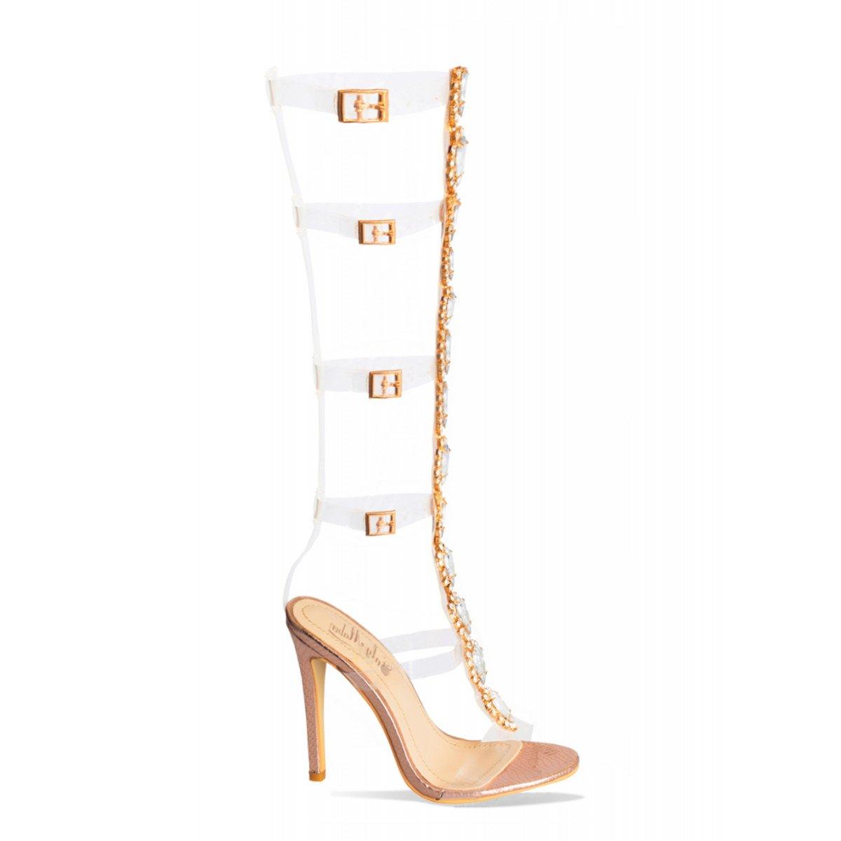 Onlymaker High Heels Pumps Sandaletten Damen Knöchelriemen Schnalle Pumps Heels Klar Stiletto Schuhe Gladiator Transparente Streifen Sandalen mit Strass Rose Gold-b d526f8