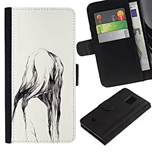 KLONGSHOP / Tirón de la caja Cartera de cuero con ranuras para tarjetas - Ape Watercolor Nature Teeth - Samsung Galaxy S5 Mini, SM-G800, NOT S5 REGULAR!