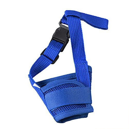 Topshop Pet Dog Adjustable Mask Bark Bite Mesh Mouth Muzzle Grooming Anti Stop Chewing (L, Blue)