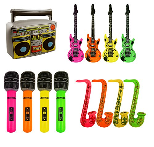 Inflatable Blow Up Boom Box, Microphone, Saxophone & Guitar Fancy Dress (Inflatable Boom)