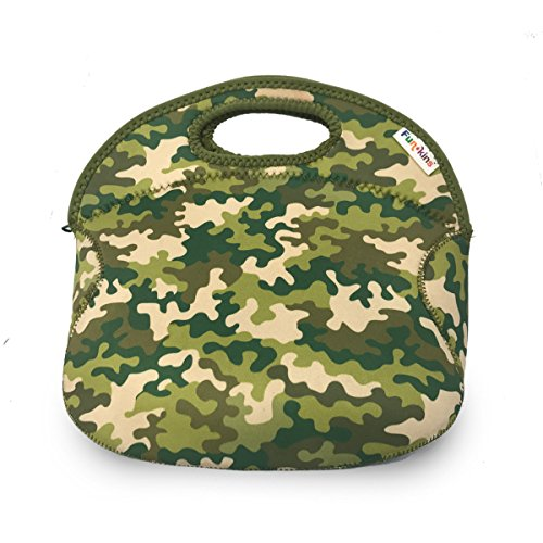 FUNKINS Spacious, Insulating Neoprene Lunch Bag for Kids, Durable & Machine Washable, CAMOUFLAGE GREEN