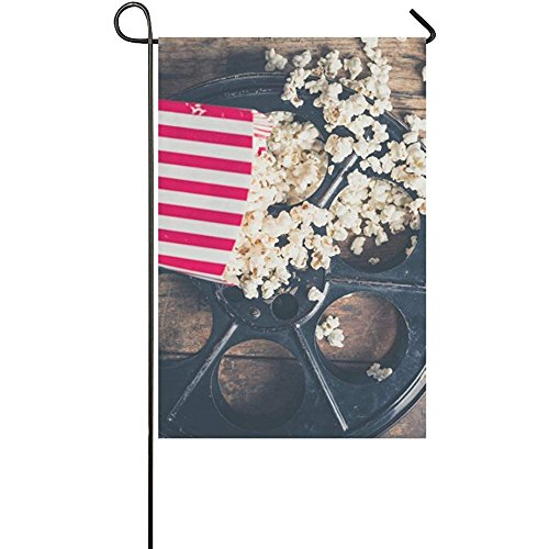 (Starochi Welcome Flags Cinema Concept with Popcorn on Wooden Surface Yard Garden Flag 12 x 18 Inches)