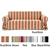 Classic Slipcovers Printed Classic Stripe Canvas Loveseat Slipcover, Sage