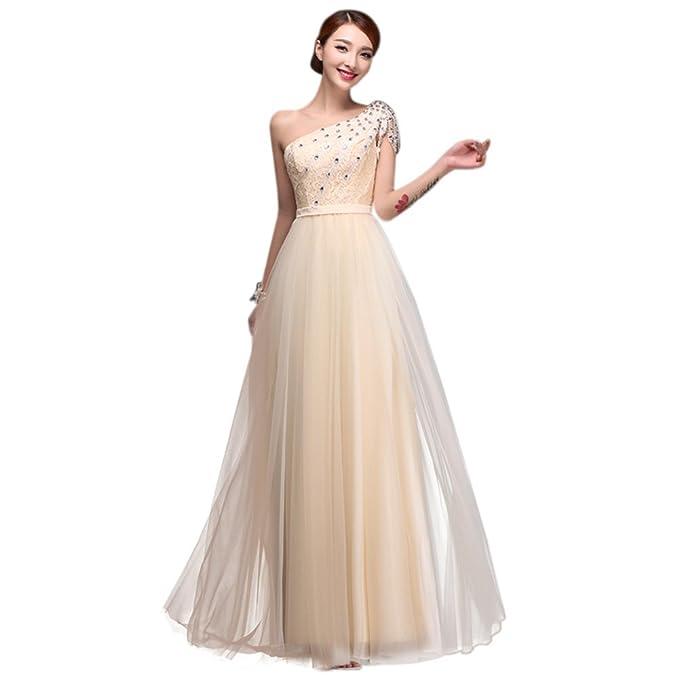 Drasawee las mujeres de un hombro vestido de novia de tul, bailes Rhinestone larga formal