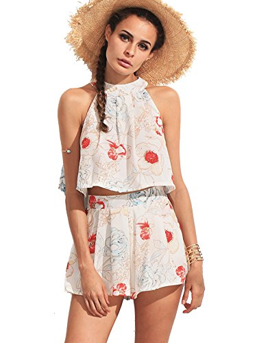 Romwe Women's Summer Two Piece Halter Flower Print Floral Crop Tank Top with Zipper Ruffle Shorts Multicolor M