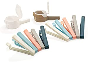 12 PCS Bag Clips, Bag Clips for Food, Chip Clips Bag Clips Food Clips, Magnetic Clips, Seal Pour Food Storage Bag Clip, Clips for Food Packages - Morandi Color