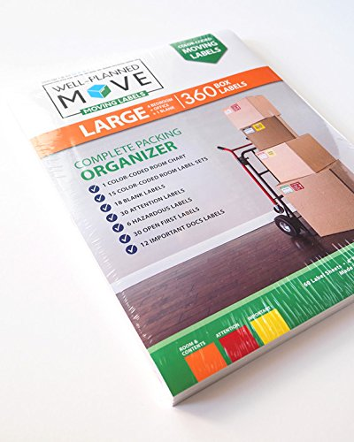 Large Home Moving Labels - LARGE KIT - 360 Color Coded Labels, 4 Bedroom House, 1 Blank Set, Attention and Priority Labels, Size 4