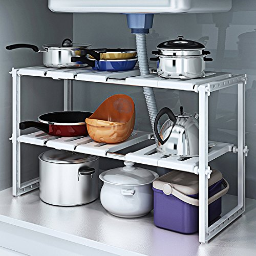 YOMYM 2 Tiers Expandable Kitchen Storage Multi-Functional Rack Adjustable Stainless Steel Under Sink Organizer Storage Shelf Cabinet