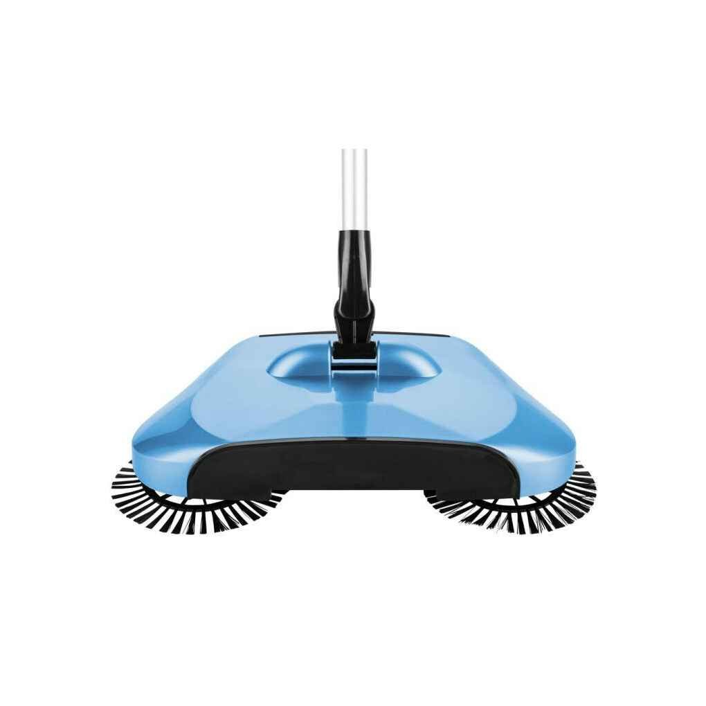 MuLuo 3 In 1 Hand Push Sweeper Lazy Automatic Hand-propelled 360 Degree Rotating Magic Broom Without Electricity Handle Household Cleaning Tool Dustpan Trash Bin blue