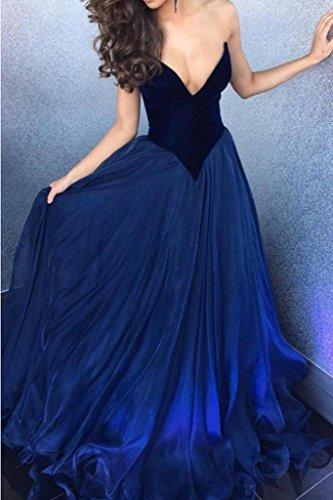 Bainjinbai Lange Kaiser Blau V-Ausschnitt Abendkleider BrautjungfernKleider Formal Kleider Cocktail Party Kleider