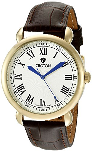 CROTON Men's CN307532BRDW HERITAGE Analog Display Quartz Brown - Dial Mens White Croton