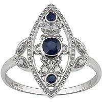 PR Jewelry 10k White Gold Antique Style Genuine Round Sapphire and Diamond Ring (10)