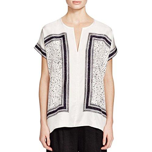 Vince Womens Silk Printed Blouse B/W XL