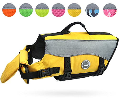 Vivaglory Dog Life Jackets with Extra Padding for Dogs, X-Small - Yellow