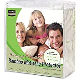 Utopia Bedding Waterproof Bamboo Mattress Protector - Fitted Mattress Cover (Queen)