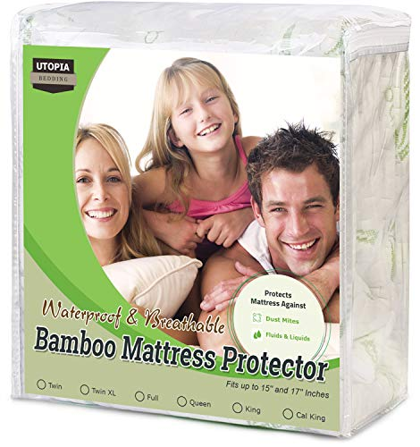 Utopia Bedding Waterproof Bamboo Mattress Protector (Twin) (Waterproof Twin Mattress Pad)