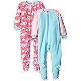 Gerber Little Girls' Toddler 2 Pack Blanket Sleepers, Elephant, 3T