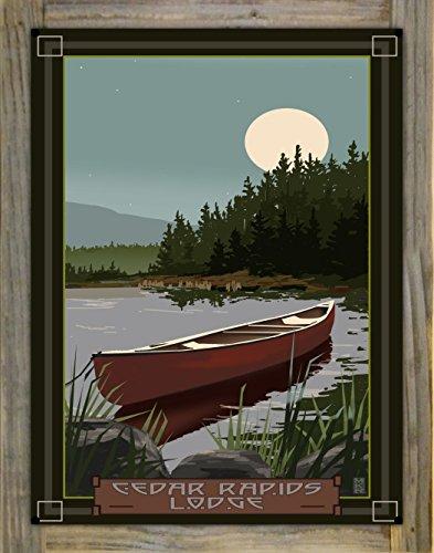 Northwest Art Mall Cedar Rapids Lodge Minnesota Canoe in Moonlight Metal Print on Reclaimed Barn Wood by Mike Rangner (18