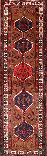 One-of-A-Kind Meshkin Tribal Geometric Hand-Knotted 3x11 Brown Wool Vintage Persian Runner Rug (11' 2