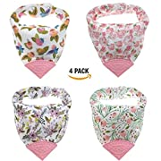 Pickle & Olive Baby/Toddler Floral Girl Bandana Teething Bibs With Attached BPA-Free Silicone Teether Toy Corner, Set Of 4, Water-Resistant, Best Unique Baby Shower Gift For Moms