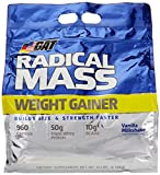 GAT Radical Mass, Top Weight Gainer For Building Size & Strength Faster, Premium Muscle Builder with milkshake flavor, Vanilla Milkshake, 10 Pounds
