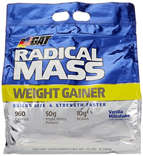 (GAT Radical Mass, Top Weight Gainer For Building Size & Strength Faster, Premium Muscle Builder with milkshake flavor, Vanilla Milkshake, 10 Pounds )