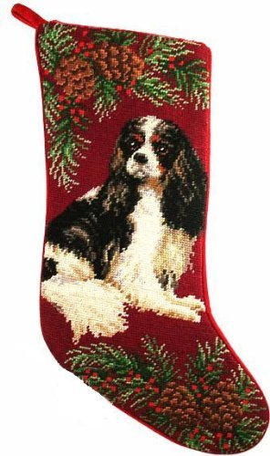 Tri-Color Cavalier King Charles Spaniel Dog Needlepoint Christmas Stocking by ED
