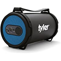 Tyler Portable Wireless Bluetooth Speaker TWS403-BL, Indoor/Outdoor 2.1 Hi-Fi Stereo Cylinder Loud Speaker, with Dual High Performance Drivers, SD Card Input, Aux Line-In, FM Tuner, and USB Port, Blue