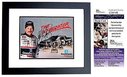 (Dale Earnhardt Sr. Autographed Signed Nascar Racing 8x10 inch Photo BLACK Custom Frame JSA Authentic COA Deceased 2001)