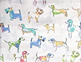 Cynthia Rowley 4 Piece Full Size Double Bed Cotton Extra Deep Pockets Sheet Set Artistic Watercolor Colorful Dogs Puppies on White