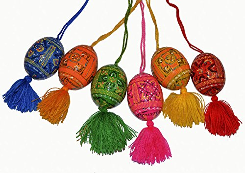 Set of 6 Hand Painted 2,5'' Wooden Ukrainian Geometry ornament Easter Eggs (Pysanky) on Cord (Hangers)