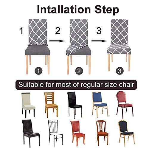 SearchI Dining Room Chair Covers Set of 6, Stretch Parsons Chair Slipcovers Super Fit Spandex Removable Washable Kitchen Chair Protector Cover for Dining Room, Hotel, Ceremony (Brown)