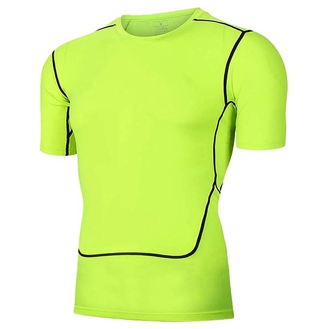 Xinwcanga Camiseta de Compresión Deportivas de Manga Corta para Hombres Elástico y Transpirable Ropa Deportiva (