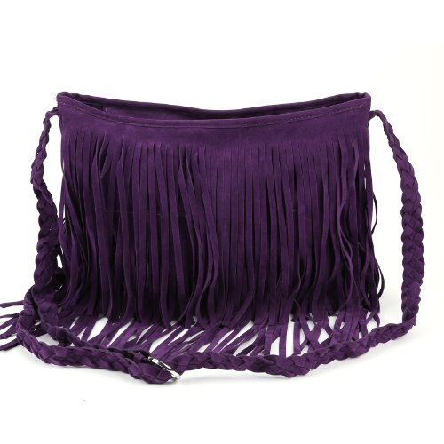 Bag Across Shoulder Slouch Suede Duffle Messenger Purple Body Trim Layered Fringed Faux wxq6HO0T