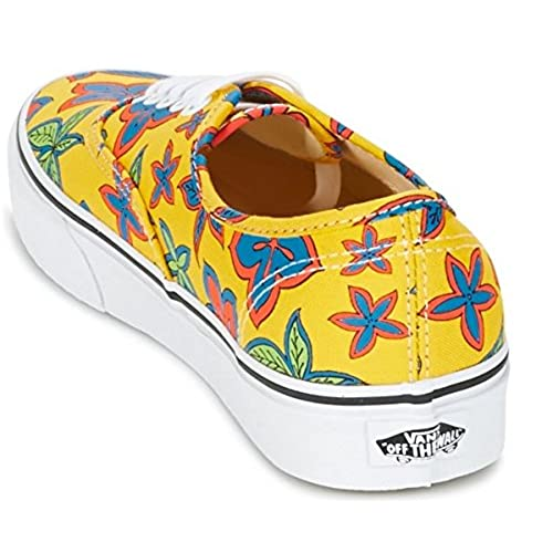 Vans Authentic Yellow Floral Womens Canvas Skate Trainers Shoes-4 hot sale