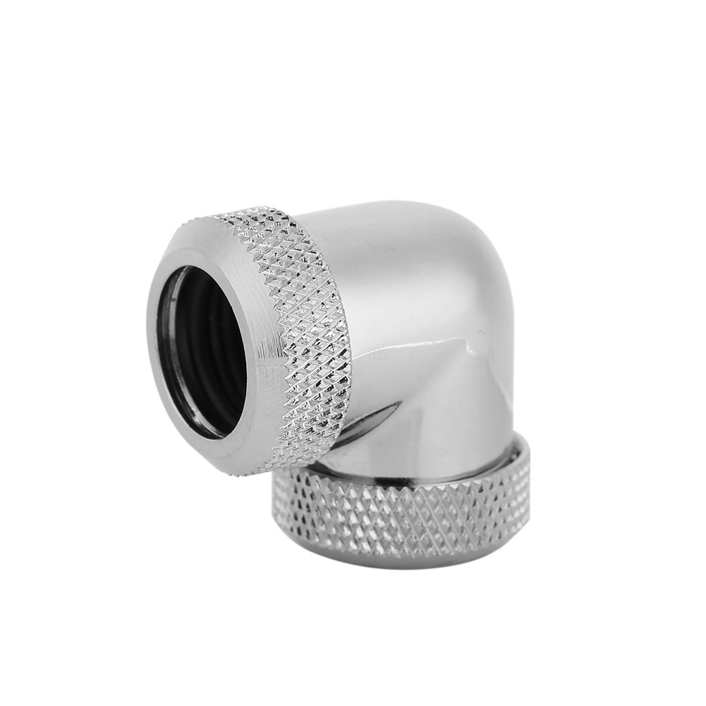 Water Cooling Fitting, Twist 90 Degree Elbow PC Water Cooling Fitting G1/4 Thread Dual Hard Pipe Tube Connector for Water Liquid Cooling System, Chrome-Plated, 14mm OD, Black,Sliver(Silver)