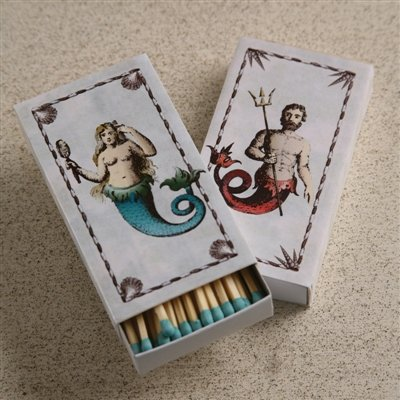 Decorative Matches Set of 10 Boxes, Match Book, Mermaid/Neptune