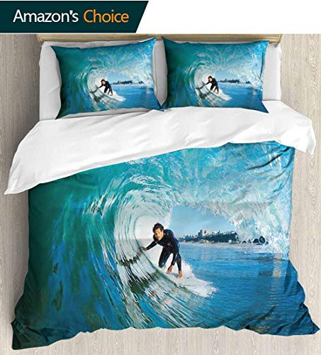 (shirlyhome Wave Full Queen Duvet Cover Sets,Extreme Sportsman Surfer Inside Barreled Wave Fun Action Holiday Vacation Bedding Set for Teen 3PCS 87