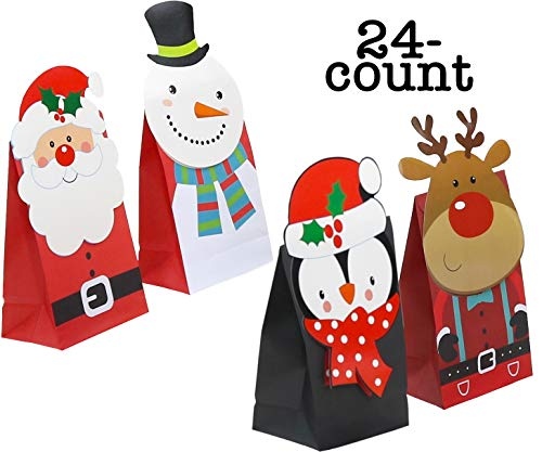 (Christmas Die-Cut Flip Over Treat & Gift Bags 24-Count (Snowman, Santa, Reindeer & Penguin))