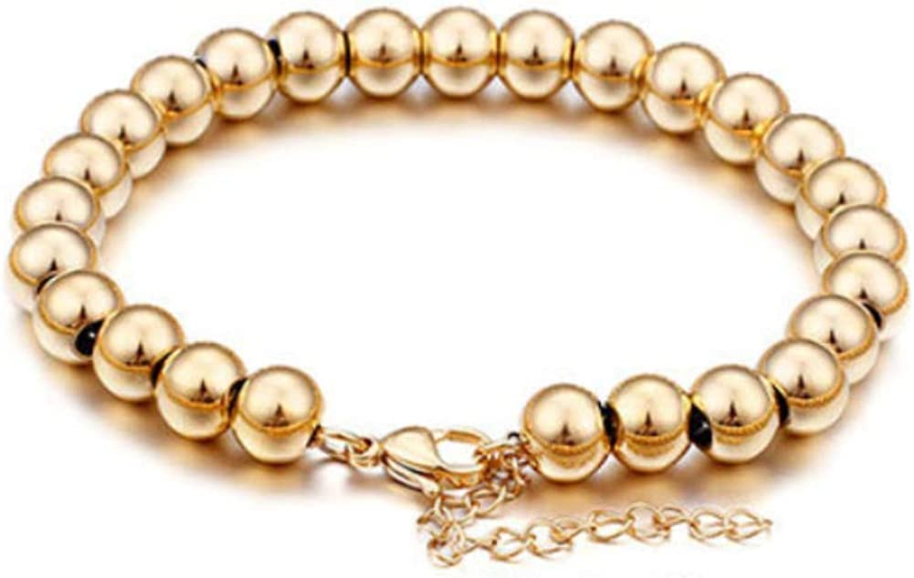 Chunky Gold Bead Ball Chain Stainless Steel Jewelry for Women and Men IS ISAACSONG Women Men Gold Beaded Necklace and Beaded Bracelet