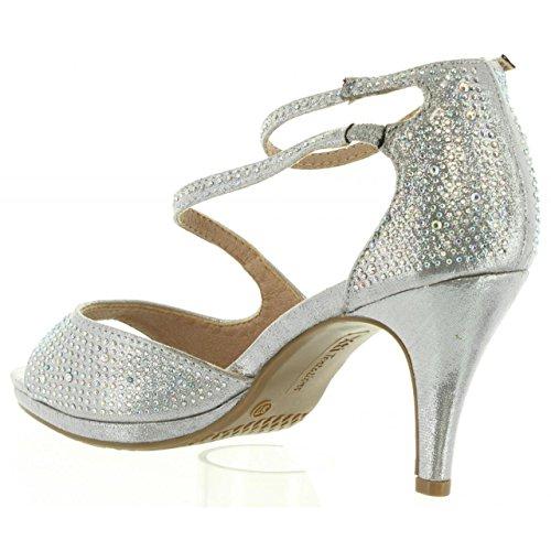 XTI Sandalias de Mujer 30572 Metalizado Plata