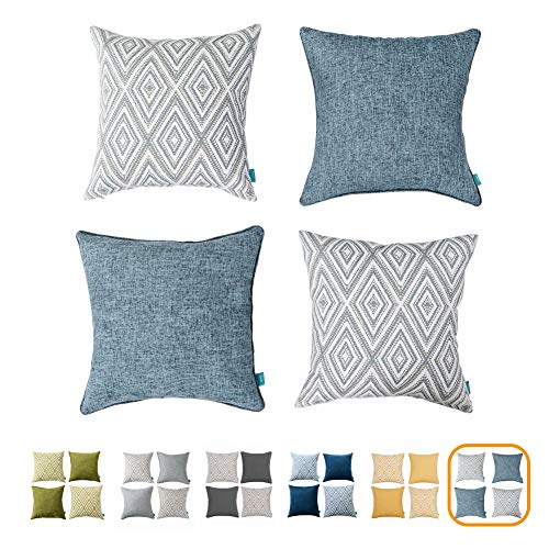 - HOMEPLUS Plaid Cotton Decorative Pillow Covers 4 pcs Throw Pillows Covers Navy Blue Couch Pillowcase Cushion Cover 17X17 Throw Pillow Cover Couch Blue