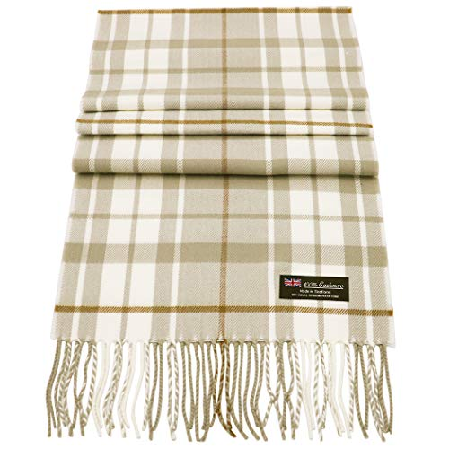 (Rosemarie Collections 100% Cashmere Winter Scarf Made In Scotland (Neutral Cream Plaid))