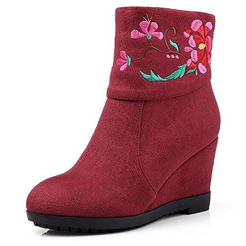 ZHZNVX HSXZ Zapatos de Mujer de Cuero de Nubuck Moda Invierno Botas Botas Botas Mid-Calf Señaló Plataforma Toe Satén Flor para Casual Negro Rojo,Rojo,US8/UE39/UK6/CN39 38.5 EU|Red
