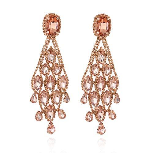 Women's Descending Marquise Droplets Cascade Gala Drop Clip On Earrings in Peach