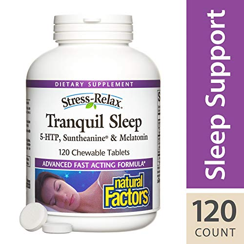 - Stress-Relax Chewable Tranquil Sleep by Natural Factors, Sleep Aid with Suntheanine L-Theanine, 5-HTP, Melatonin, Tropical Fruit Flavor, 120 Tablets (60 Servings)