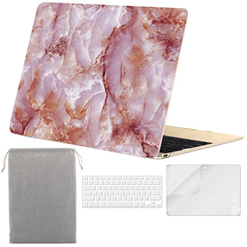 Sykiila - for Macbook 12 Inch Case Hard Cover 4 in 1 Folio Case + HD Screen Protector + TPU Keyboard Cover + Sleeve for Macbook 12'' with Retina Display ( Model: A1534 ) - Rose Marble Pattern