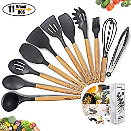 Kitchen Utensil Set Silicone Cooking Utensils 11Piece – Cooking Utensils Set with Bamboo Wood Handles for Nonstick…