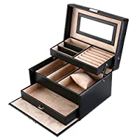 Jewelry Box, Kealive Portable Jewelry Case Organizer Mirror Included 3 Layers 1 Drawer with Security Lock for Travel Home Storage 114B Black